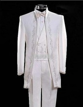 New White Embroidered Mens Wedding Suits Groom Tuxedo 3 Piece Formal Party