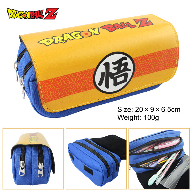 Dragon Ball Z Canvas Double Zipper Pencil Bag Anime Pencil Case Kids Girl Gift Stationery Container School Supplies black bluter canvas roll up pencil bag anime pencil case kids boy gift stationery school supplies