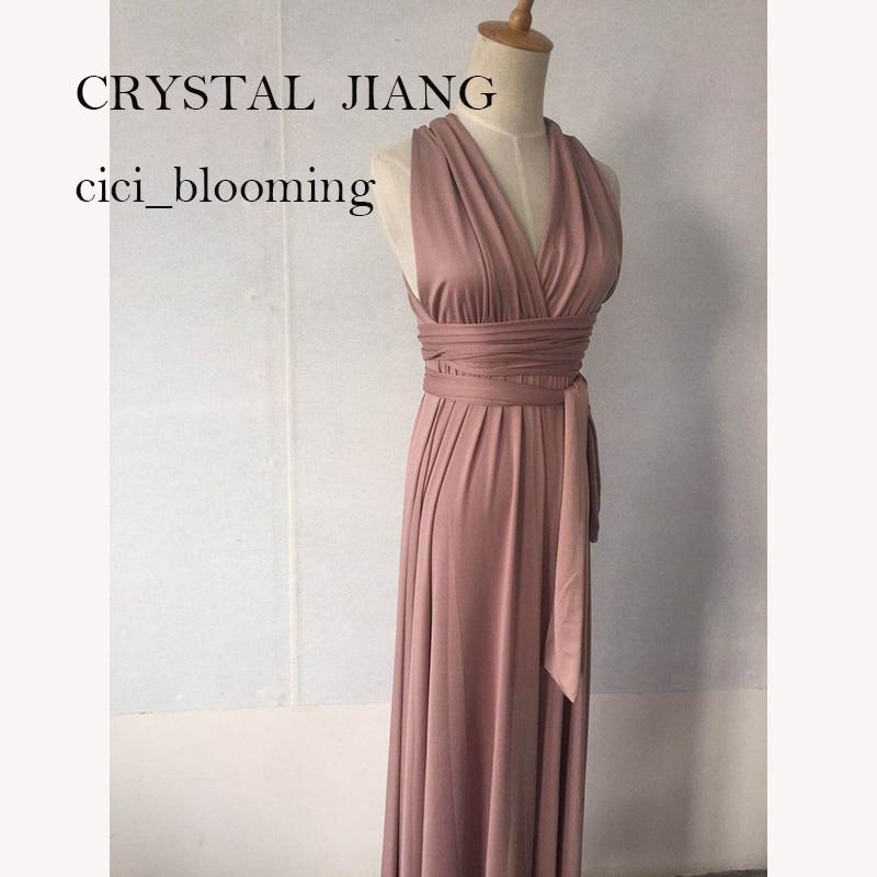 Cheap Infinity Bridesmaid Dress Long Criss Cross Straps Maxi Dress Convertible Straps A-line Wrap Gown