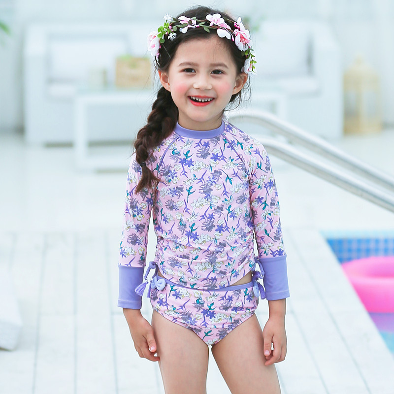 YONGHS Infant Baby Girls One Piece Swimsuit Long Sleeves Flower Printed Bathing Suit Sun Protection Beachwear