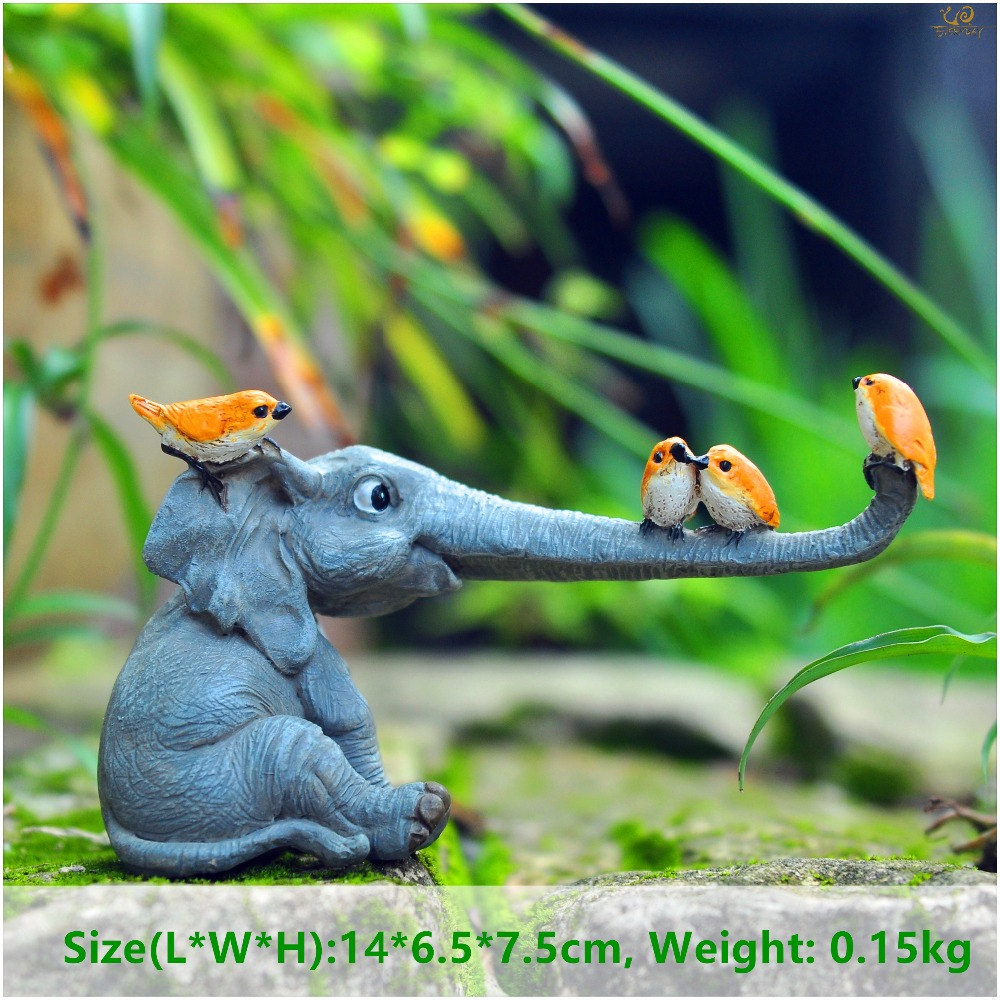 Everyday collection lucky elephant figurines fairy garden animal statue toys home decor tabletop decoration souvenir crafts