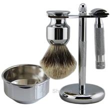 Barber Beard Shaving Set Double Edge Safety Razor DE Blades Finest Badger Hair Brush Metal Stand Holder Bowl все цены