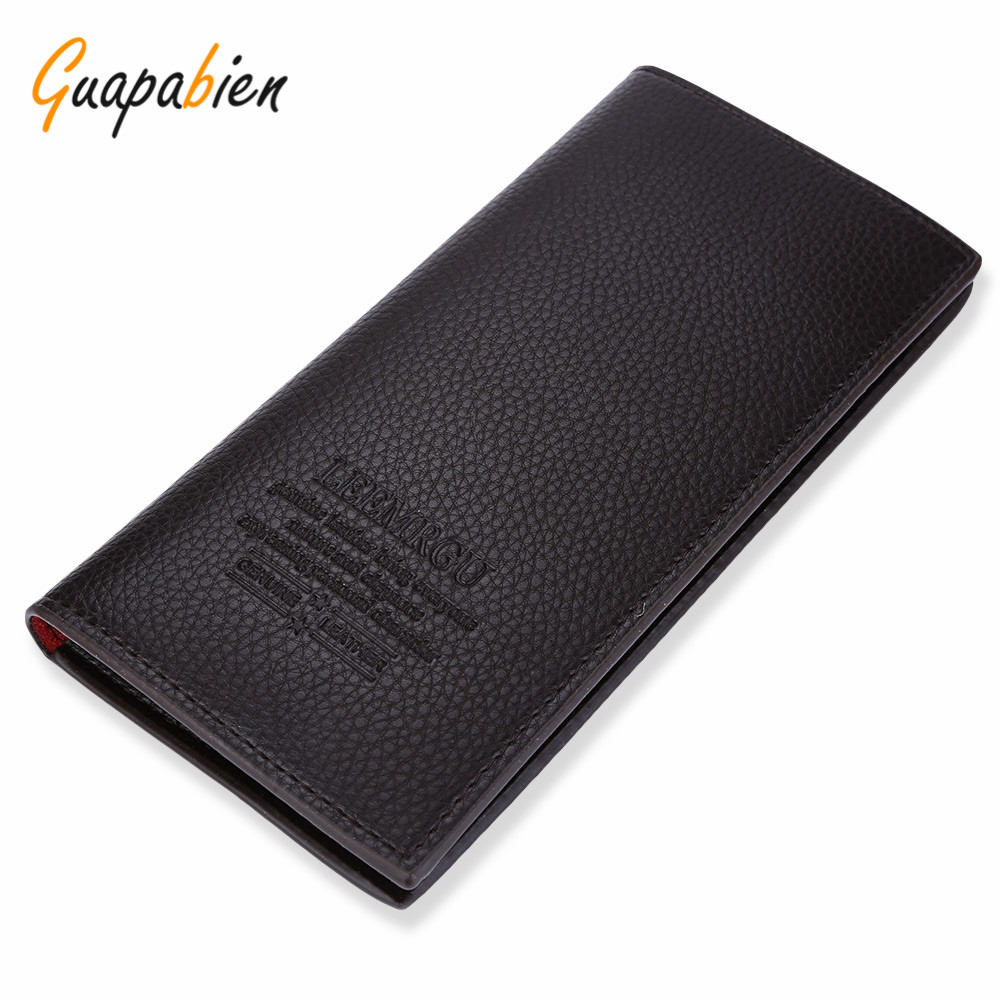Guapabien Casual Fashion Lichee Pattern PU Leather Clutch Wallet Letter Print Solid Color Open Soft Vertical Long Wallet for Men