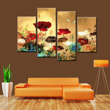 Hand Painted 4 pieces decorative gold coloring landscape oil painting on canvas for living room pictures flowers modern wall art