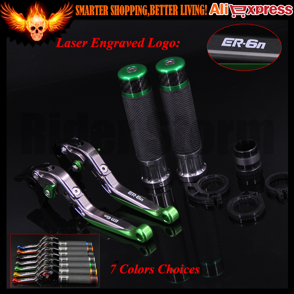Green&Titanium CNC Motorcycle Brake Clutch Levers and Handlebar Hand Grips For Kawasaki ER-6N 2009-2016 2011 2012 2013 2014 2015