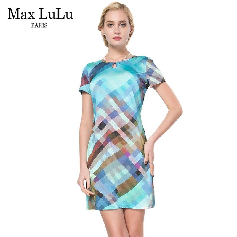 Max LuLu vêtements d'été nouveau 2017 célèbre marque Designer Sexy femmes crayon robes bleu Plaid à manches courtes dames Vestidos Mujer