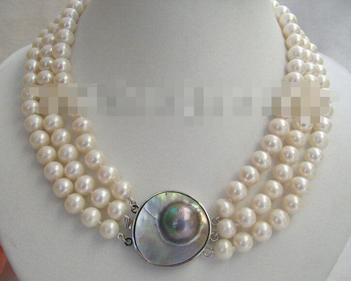 HOT SELL - 0629 natural white round freshwater pearl necklace -Top quality free shipping