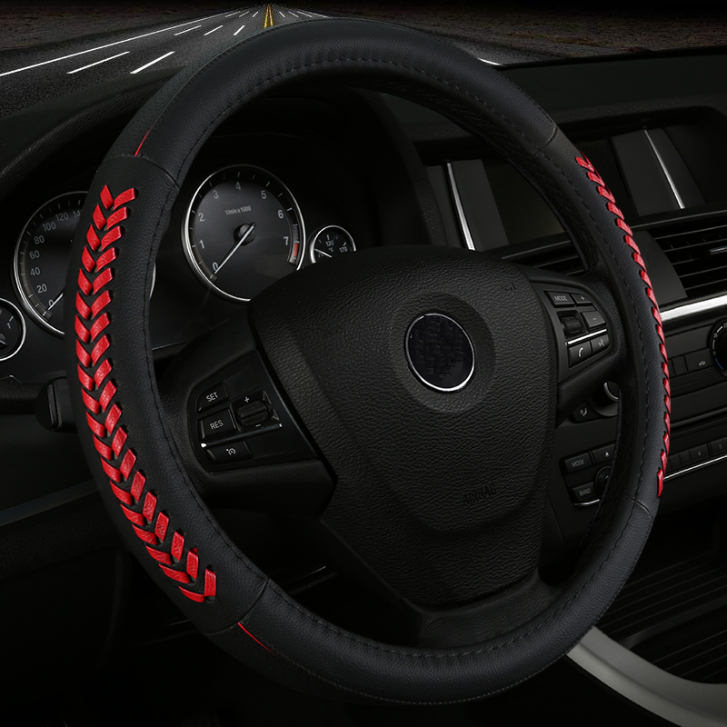 Hand-woven leather car steering wheel cover for Audi B5 allraod Avant TT automobile styling