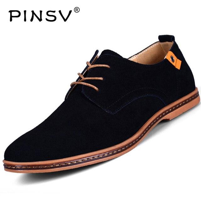 PINSV Suede Shoes Mens Men Shoes Skateboarding 2017 Leather Shoes Sneakers Men Skateboard Black Lace Up Mens Shoes