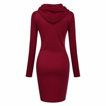 Elegant Warm Fleece Spring Autumn Winter Long Sleeve Women Long Hoodie