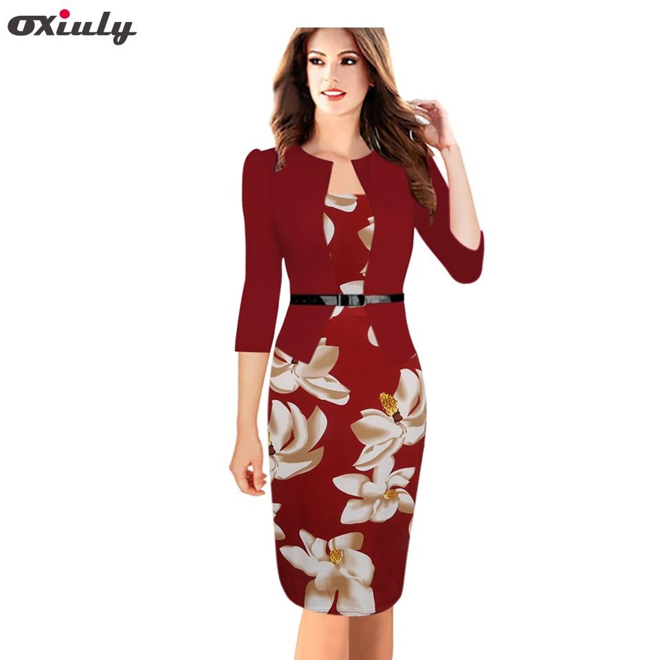 Oxiuly Naised Vintage Faux Kaheosaline kleidid Lady õie printimine Pikad varrukad Office Wear riided Pluss suurus 4XL ümbris pliiats kleit