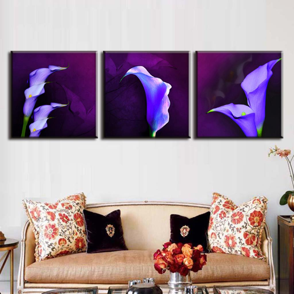 Modern 3 Pcsset Framed Purple Flower Painting Prints On Canvas