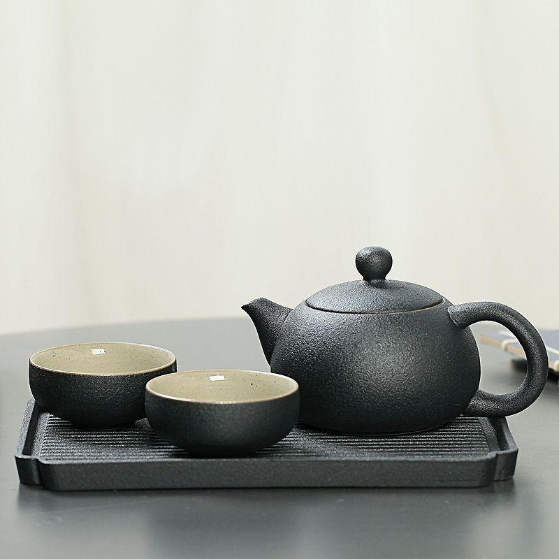 Black Gaiwan Teapot Kettle Classic Ceramic Tea Set Include 1 Teapot 2 Teacups Chinese Kung Fu Tea Set Portable Teaset Drinkware