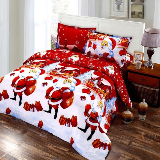 4pcs cotton 3d bedding set printed merry christmas santa claus bed cover duvet cover bed sheet - Santa Sheets