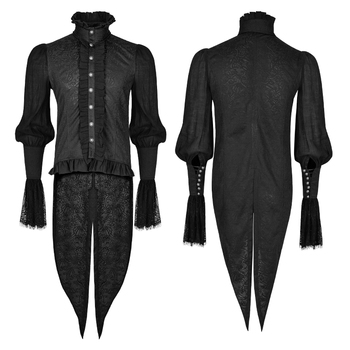 Gothic Lace Puff Sleeves Brocade Swallow-Tailed Men Shirts Black Single-Breasted High-Necked Lace Trumpet Sleeve Dovetail Shirt