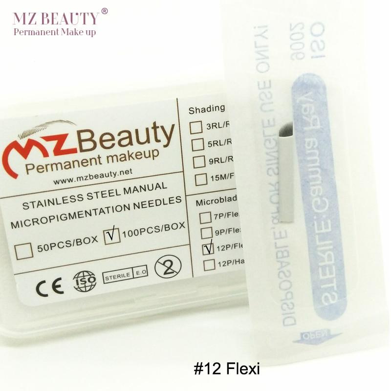 100 шт 12CF Flexi лезвие руководство по микроблокам иглы Лезвия микроблейдинг игла для татуировки бровей лезвие Dia 0,25 мм