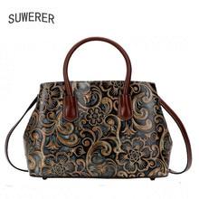 Valódi bőr kézitáska 2018 új luxus domborított kézitáska Divat Váll Messenger Bag Női táskák
