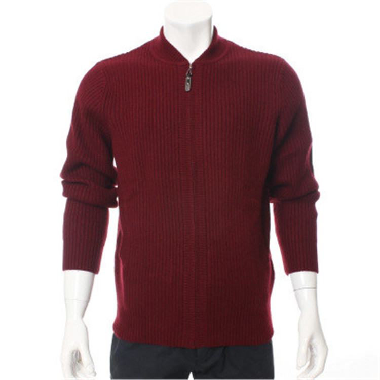 100%goat Cashmere Half-high Collar Thick Knit Men Fashion Zipper Cardigan Sweater H-straight Grey Blue 3color S-2XL