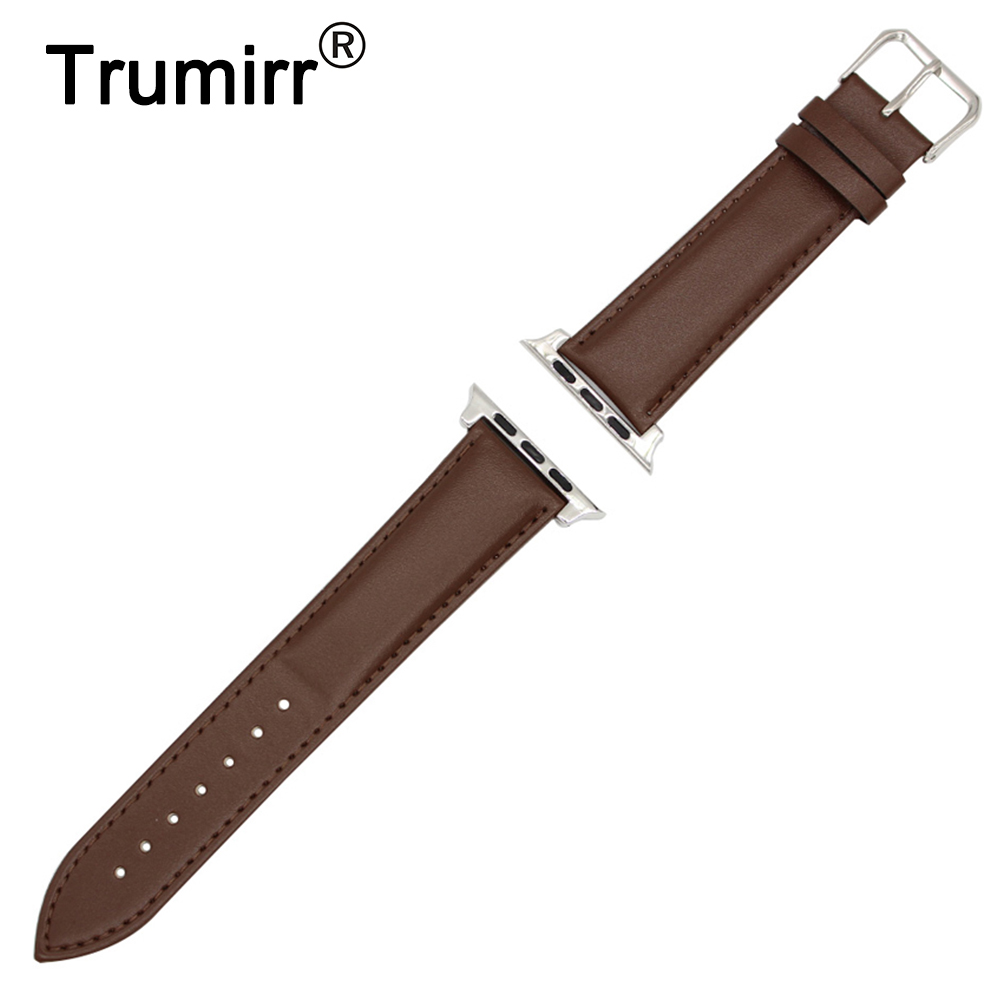 Calf Genuine Leather Watchband + Adapters for iWatch Apple Watch Sport Edition 38mm 42mm Band Wrist Strap Bracelet Balck Brown
