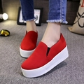 2016 Spring autumn Style women platform shoes woman flats loafers canvas espadrilles slip on Ladies Creepers thick sole ev