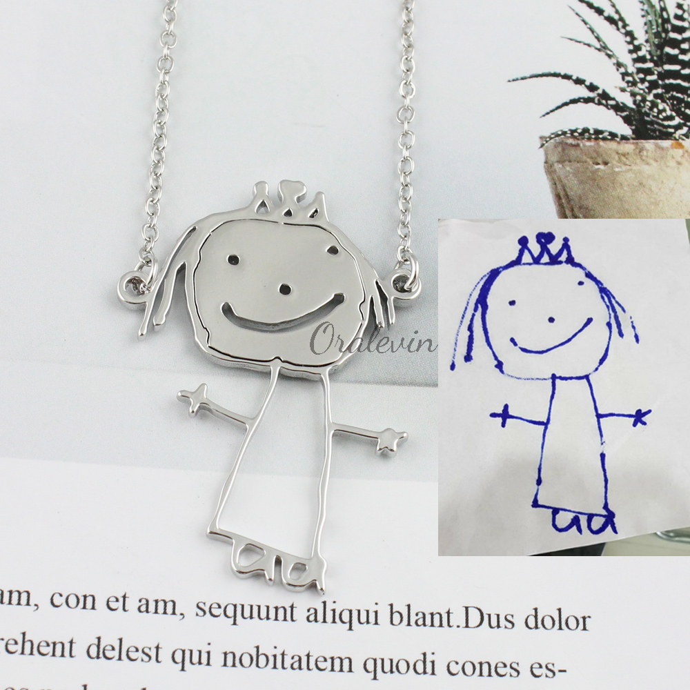 Details About Custom Children Drawing Necklace Kids Art Child Artwork Personalized Logo Design