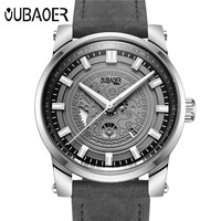 Relogio Masculino OUBAOER Original Mens Watches Top Brand High Quality Leather Military Waterproof Date Quartz Men