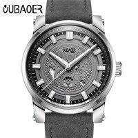 Relogio Masculino OUBAOER Original Mens Watches Top Brand High Quality Leather Military Waterproof Date Quartz Men