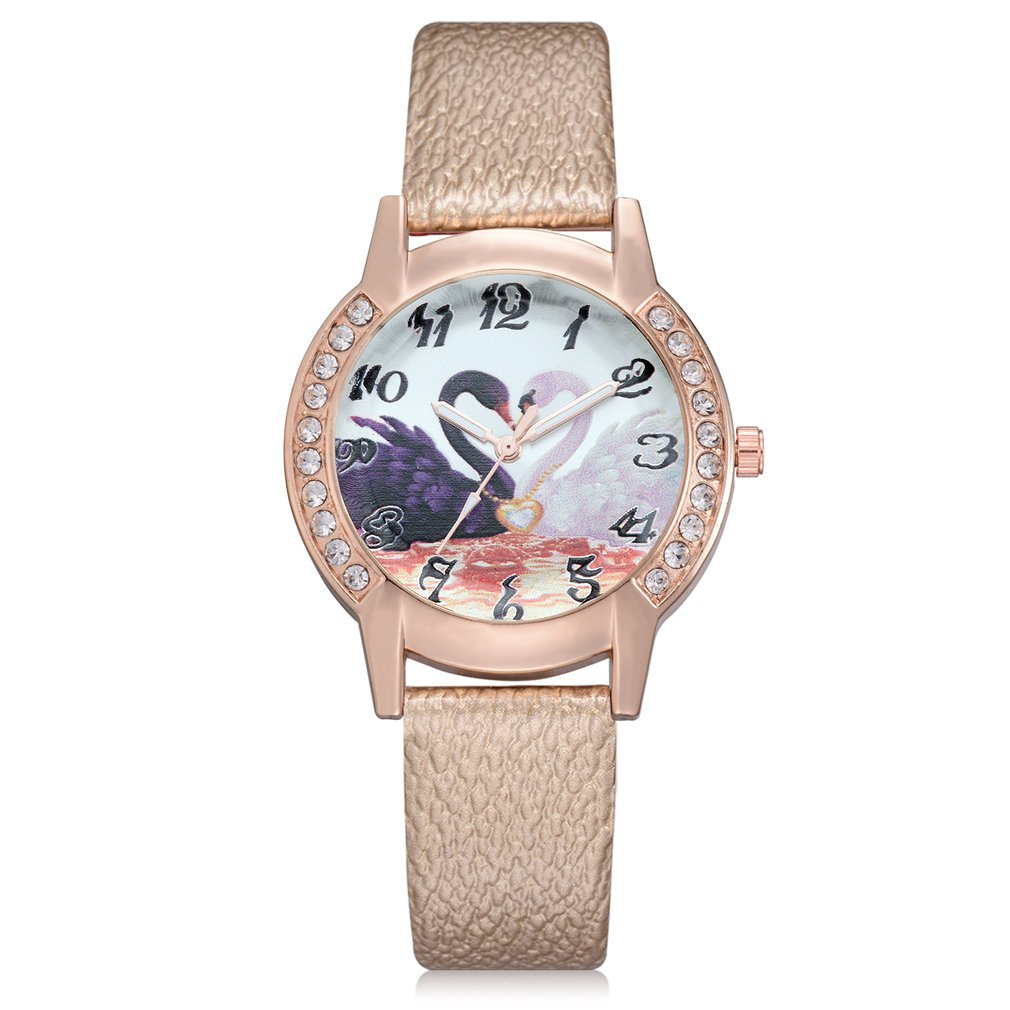 Luxury Design Animal Swan Rhinestone Women Leather Band Quartz Watch Female Wrist Watch Wristwatches Hour Watch Gift