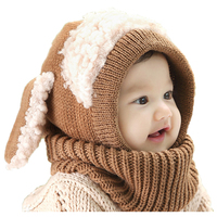 Knitted Keep Warm Baby Hats Scarf Cute Boy Winter Hats For Children Caps For Girl Acrylic