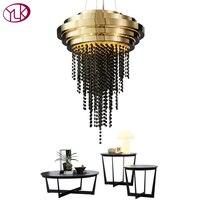 Youlaike Luxury Black Crystal Chandelier Lighting Gold Stainless Steel Dining Room Living Room Hanging LED Cristal Lustre Lamp