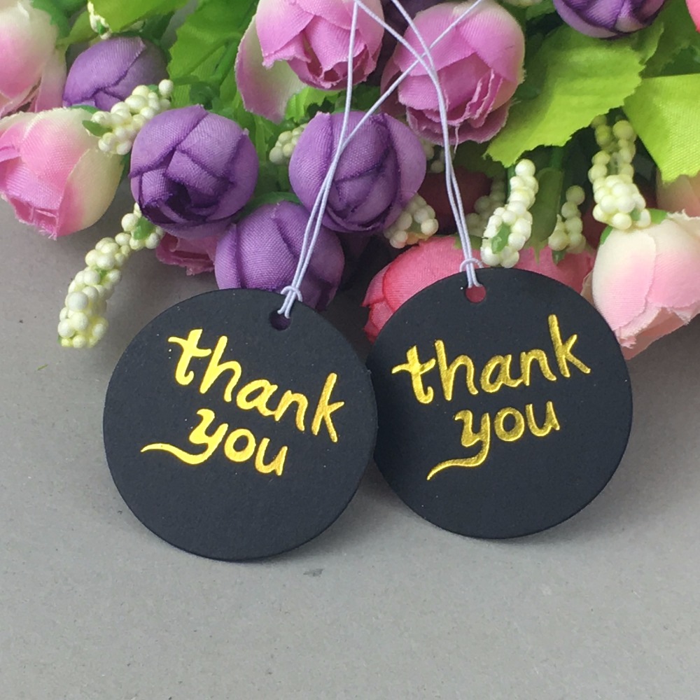 Free Shipping1000PCS Black Cardboard Round Stamping Gold THANK YOU Gift/Price Tags With1000pcs Strings Package Luggage Label/Tag