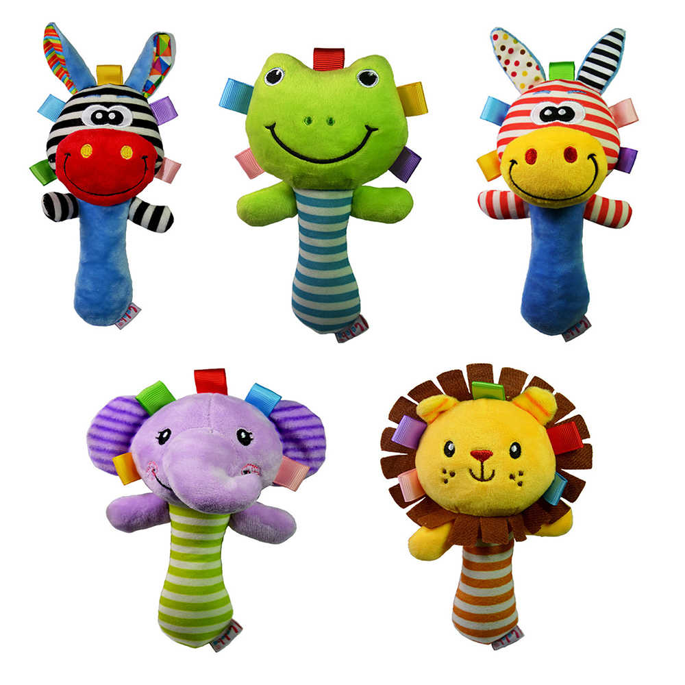 Baby Kids Crib Colorful Rattle Toys Tinkle Hand Bell Soft Grasping Plush Bed SI