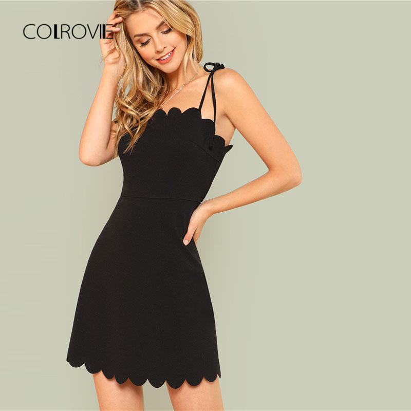 COLROVIE 2018 Fit & Flare Scalloped Bow Tied Cami Dress Summer Spaghetti Strap Sleeveless Female Dress Black Zipper Short Dress