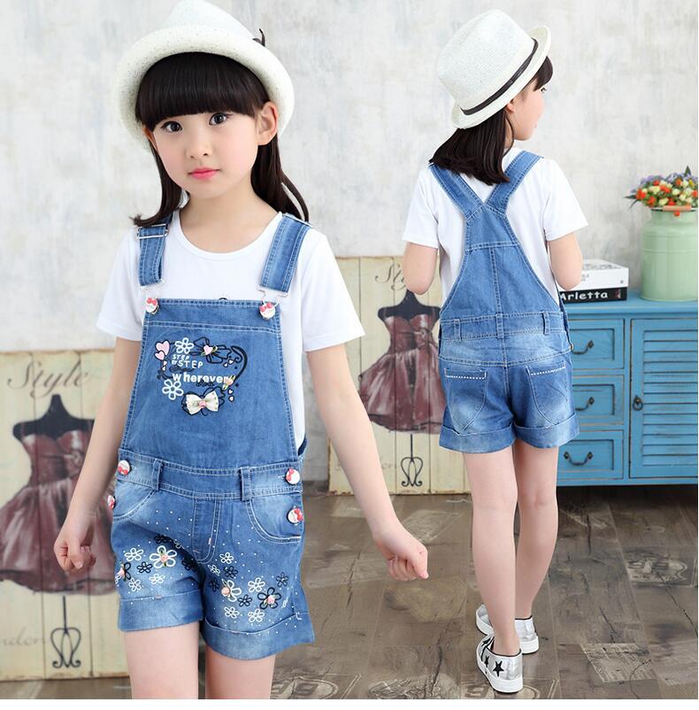 New Baby Girls Jeans Overalls Kids Summer Fashion Short Jeans Children Flower Bow Pattern Lovely Pants Hot Sale