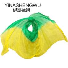 Belly Dance Props Women Silk Veils Veil For Girls green+yellow