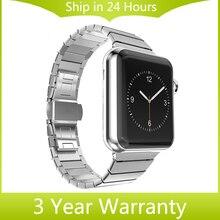 Браслет ссылка для iWatch Apple Watch 38 мм 42 мм Ремешок Из Нержавеющей Стали Бабочка Пряжки Ремешок Ремешок с Разъем Адаптера