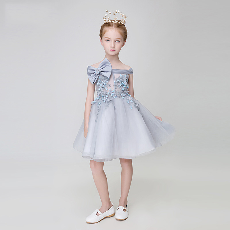 tutu girls pageant dresses bow appliques shoulderless ball gown lace-up back flower girl dresses for wedding party birthday