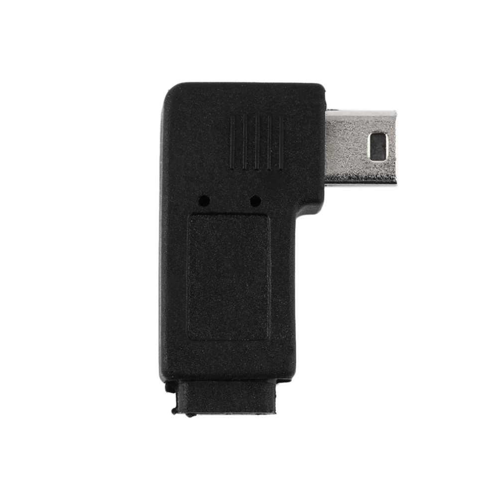 Angle droit USB 2.0 Micro 5 broches femelle à Mini 5Pin mâle 90 degrés adaptateur convertisseur connecteurs gauche Angle droit noir