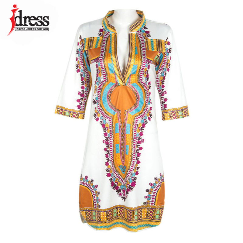 2017 Tunic Beach Dress New Boho Women Dress Sexy Sundresses Deep V Ethnic Dashiki African Print Big Size 3XL Woman SunDress Robe (2)