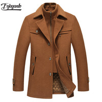 FOJAGANTO Men Winter Coat 2019 Men's New Winter Casual Brand Solid Color Warm Thick Fashion Pea Coat Male Trench Coat Overcoat