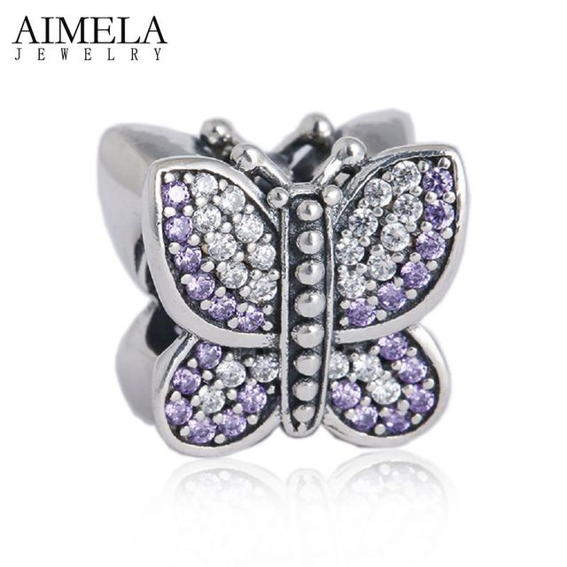 925 Sterling Silver Pave CZ Butterfly Charm Beads with AAA Cubic Zirconia For Women Fit Pan Bracelets DIY Jewelry Making