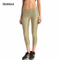 Qickitout capri pants 2016 prodotti caldi delle donne di puro lucido beige giallo pantaloni 3d di stampa 'a vita alta pantaloni sexy commerci all'ingrosso