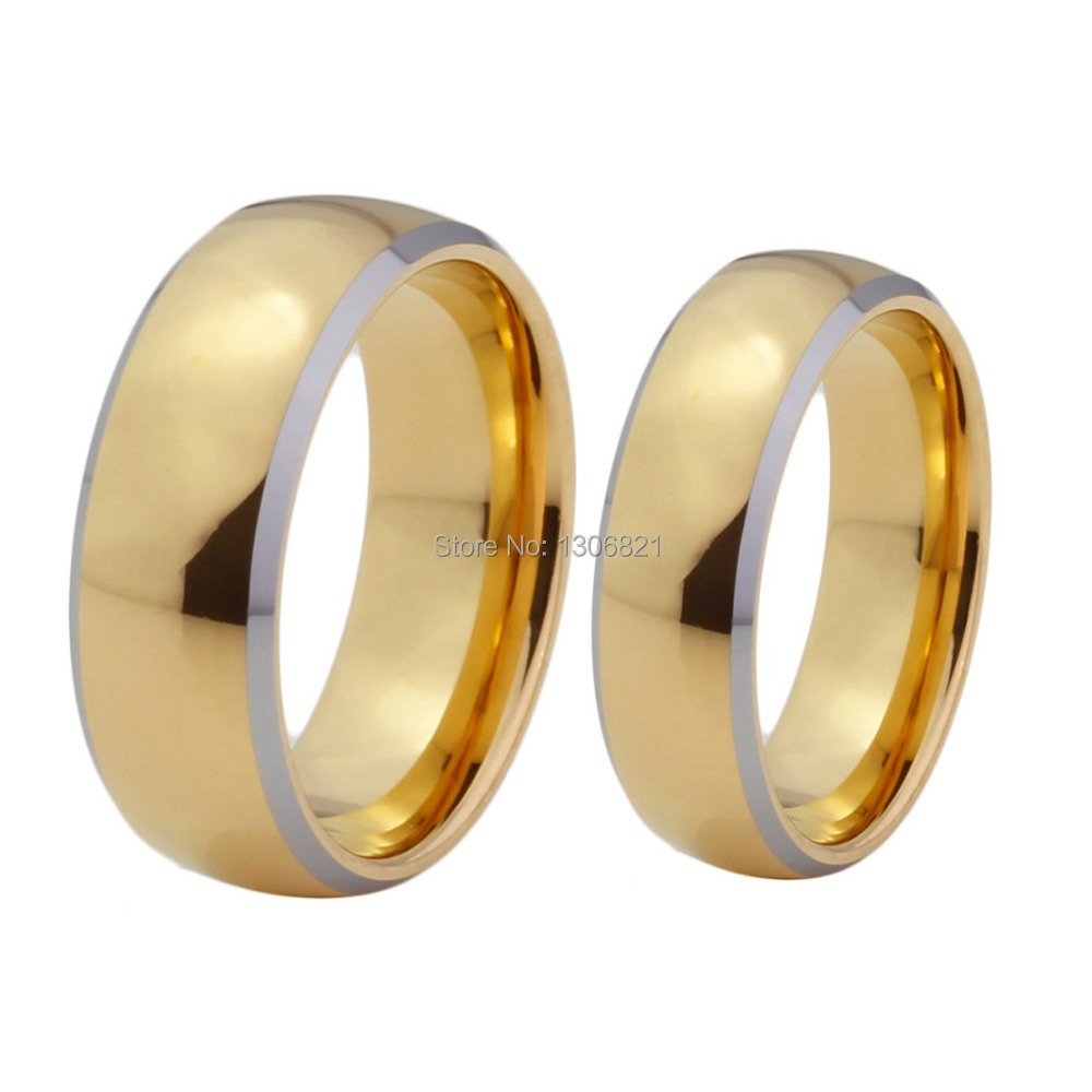 Very Nice Mens And Women Tungsten Wedding Bands Gold Couple Rings For Lovers-in Wedding Bands ...
