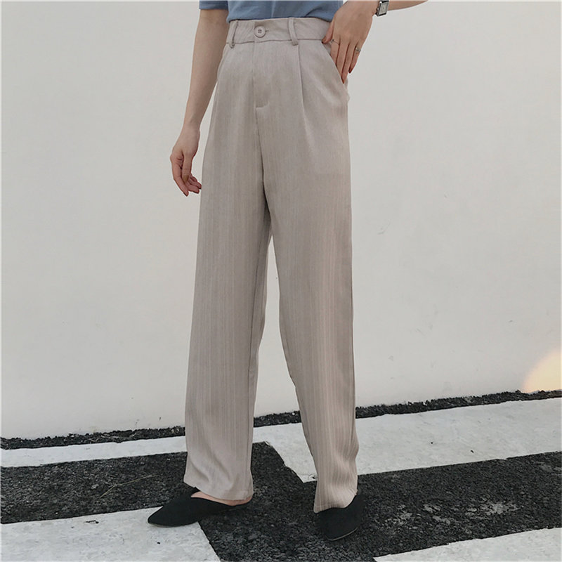 HziriP Summer High Waist Retro Loose 2019 Vintage Solid Brief Fashion Straight Fresh Casual Women All Match Full Length Trouser