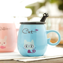 Cartoon Cat Ceramic mug with cover cute personality  milk breakfast coffee cup