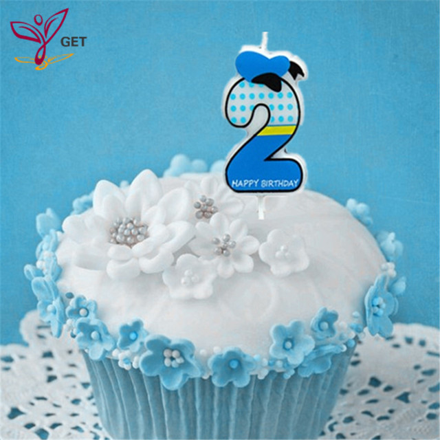 Lovely Boy Number 2 Candle Cake Candles Ages Party Kids Birthday Decorations Colorful Supplies