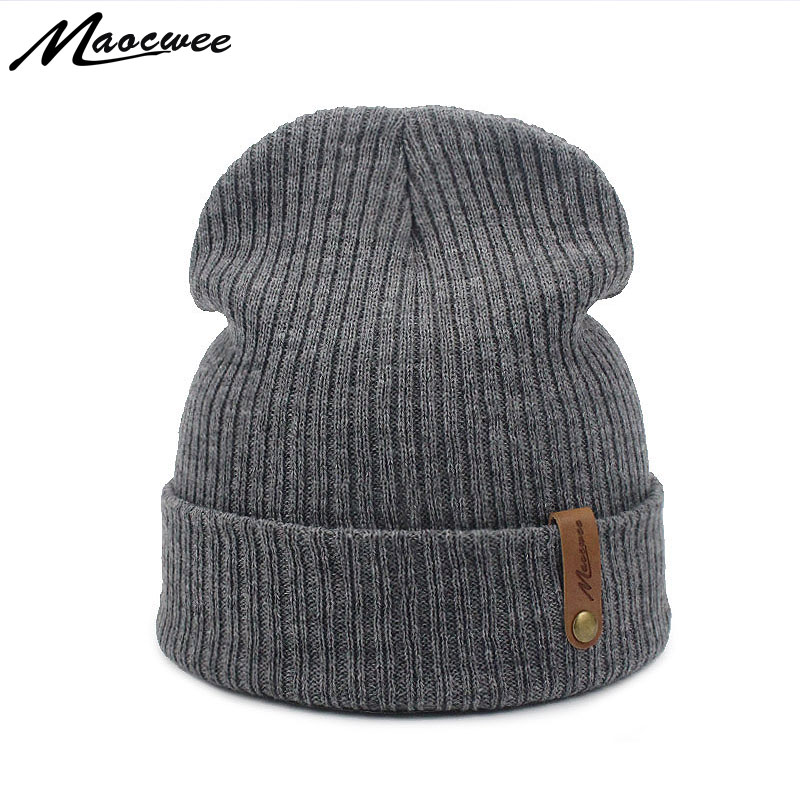 Women Beanie Cap Hat Autumn WInter Adult Unisex Knitted Beanies Skuilles Hats Solid Color Gray Black Crochet Skull Face Mask Dad