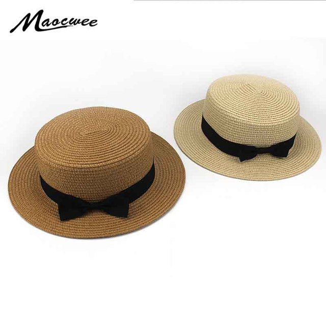 8df4ed28723b2 2018 Summer Lady Boater sun caps Ribbon Round Flat Top Straw Fedora Panama  Hat summer hats for women straw hat snapback gorras