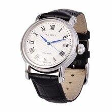 Досуг автоматические механические Пояса из натуральной кожи Водонепроницаемый часы с Рим цифровой Бизнес для различных случаев m186s