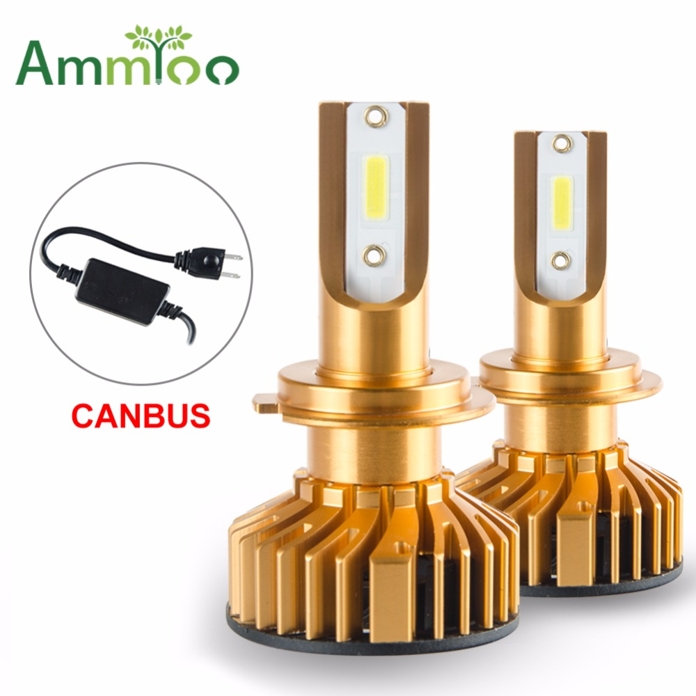 AmmToo 2PCS H7 led H4 Car Headlight Mini Canbus 9012 H1 Led Bulbs H11 HB3 HB4